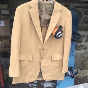 Vintage amalgamated union tag men camel sport coat